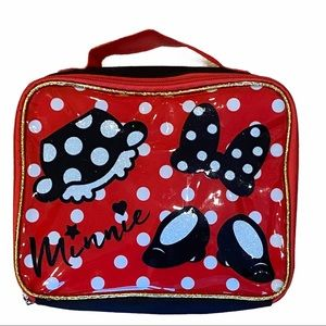 Disney Minnie Mouse Glitter Lunch Bag Box Red